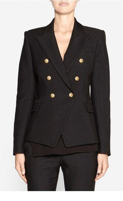 """The statement jacket <a href=""""https://www.camillaandmarc.com/dimmer-blazer-black-25311.html"""" target=""""_blank"""">camilla and marc dimmer blazer, $680.</a><br> <br>"""
