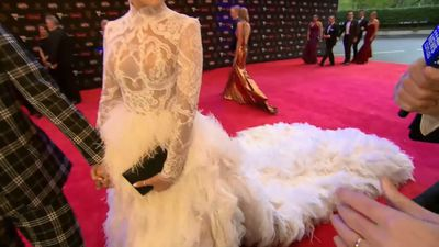 Jaws drop over Logan Shine's Brownlow dress