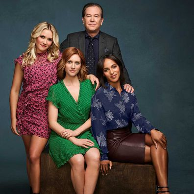 Emily Osment as Roxy Doyle, Brittany Snow as Julia Bechley, Timothy Hutton as Dr. Leon Bechley and Megalyn Echikunwoke as Edie Palmer in Almost Family.