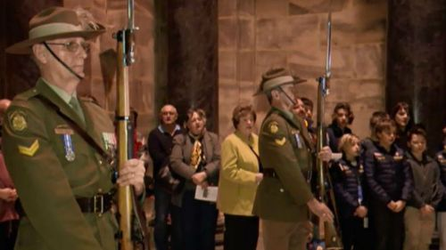 The service was held at Melbourne's Shrine of Remembrance. (9NEWS)