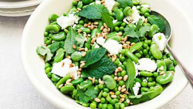 Broad bean, baby pea & fetta salad