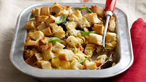 Cheesy pasta bake with crunchy top for $9.60