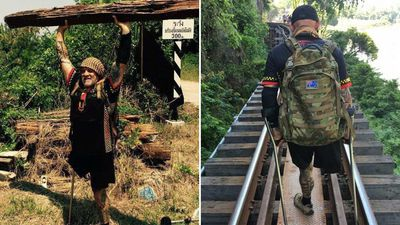 Australian veteran trekking the 'Death' Railway on crutches