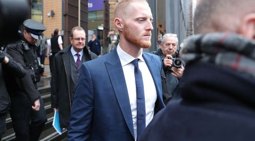 Ben Stokes leaves Bristol Magistrates' Court where he was told he will face a crown court trial over an altercation outside a nightclub. (AAP)