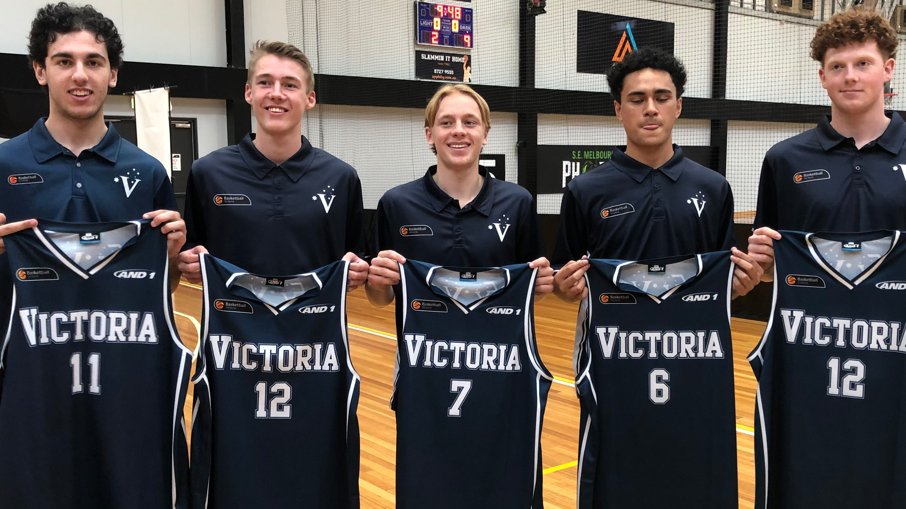 Sandringham Sabres college-bound stars Tyrone Simos, Kingsley Box, Brody Nunn, Sam Taulapiu, Kobe Williamson.