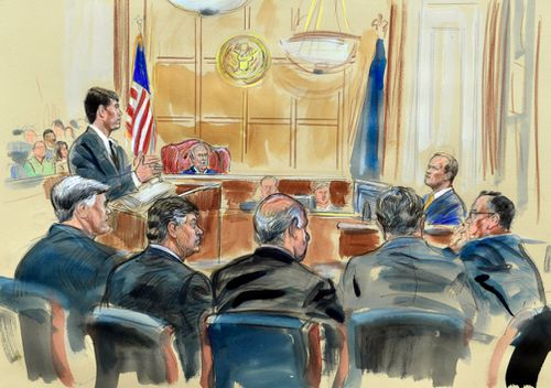 This courtroom sketch depicts Rick Gates, right, answering questions by prosecutor Greg Andres as he testifies in the trial of Paul Manafort, seated second from left, at the Alexandria Federal Courthouse in Alexandria, Virginia.
