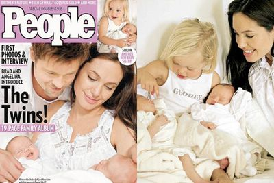 """Brangie's bubs Knox and Vivienne made their front cover debut on <i>People</I> following their birth in Nice... and we all melted. <br/><br/>Angie said of their new family of six: """"It is chaos, but we are managing it and having a wonderful time.""""<br/><br/>Brad on the other hand described it as a """"cuckoo's nest."""" <br/><br/>Source: People Magazine <br/>"""