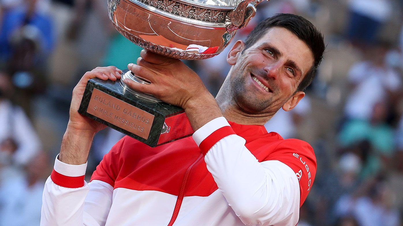 Novak Djokovic with the Roland Garros trophy.