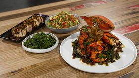 Family Food Fight: Kylie Kwong's spanner crab with chicken thigh fillets egg fried rice and native Australian greens