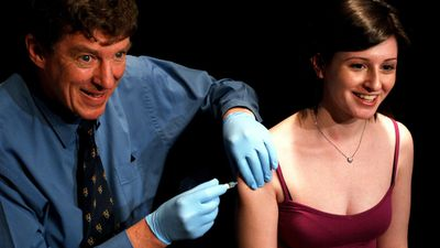 Cervical cancer vaccine, 2006: The University of Queensland's Professor Ian Frazer (pictured left) worked with US researchers to create Gardasil, a preventative vaccine for types of HPV. (AAP)