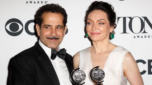 Tony Award winners US actor Tony Shalhoub and US actress Katrina Lenk. Picture: EPA