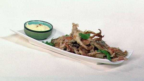 Tempura soft shell crabs with aioli
