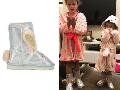 "<a href=""http://cottonon.com/AU/search/?region=AU&q=home%20boot"" target=""_blank"">Cotton On Novelty Home Boot, $24.95</a> and <a href=""http://cottonon.com/AU/p/cotton-on-kids/girls-hooded-gown/9350486681981.html?region=AU#region=AU&q=robes&start=1"" target=""_blank"">Hooded Gowns, $29.95.</a>"