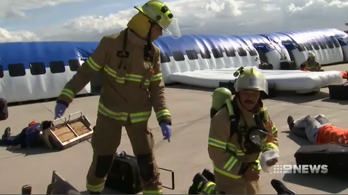 Hundreds of emergency workers were on scene to treat the mock casualties.