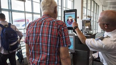 DULLES, VA - SEPTEMBER 6: Dulles airport officials unveil new biometric facial recognition scannsers , on September, 06, 2018 in Dulles, VA.