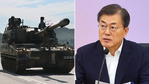 South Korea President Moon-Jae-in has been briefed about military strategy to deal with the North. (AAP)
