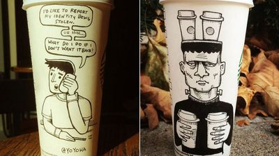 Josh Hara, a creative director at Columbus-based marketing agency Resource Ammirati, loves drawing cartoons in his spare time and decided to get creative on the blank takeaway cups.