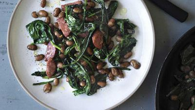 <strong>Pan-fried cavolo nero, salami and borlotti beans</strong>