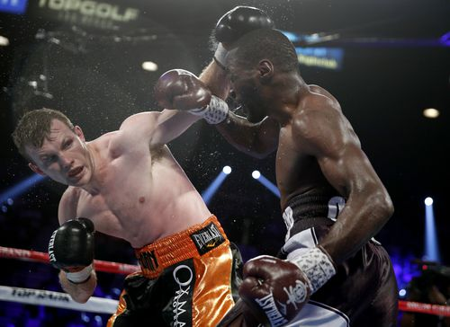 Crowds gathered on the Vegas strip to watch Jeff Horn take on Terence Crawford, with barely any security watching on. Picture: AAP