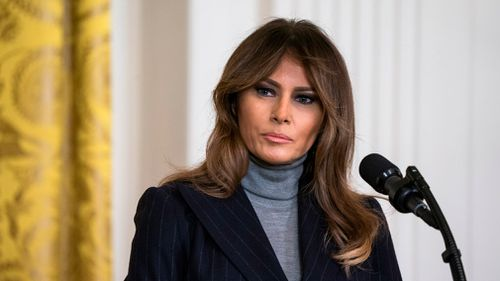 Mrs Trump's quiet return to the White House, her husband and their 12-year-old son, after five days at a nearby US military hospital resolved a brewing mystery about when she would eventually be released. Picture: EPA