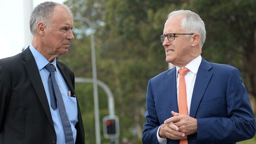 John Alexander and Malcolm Turnbull campaigning in Macquarie Park today. (AAP)