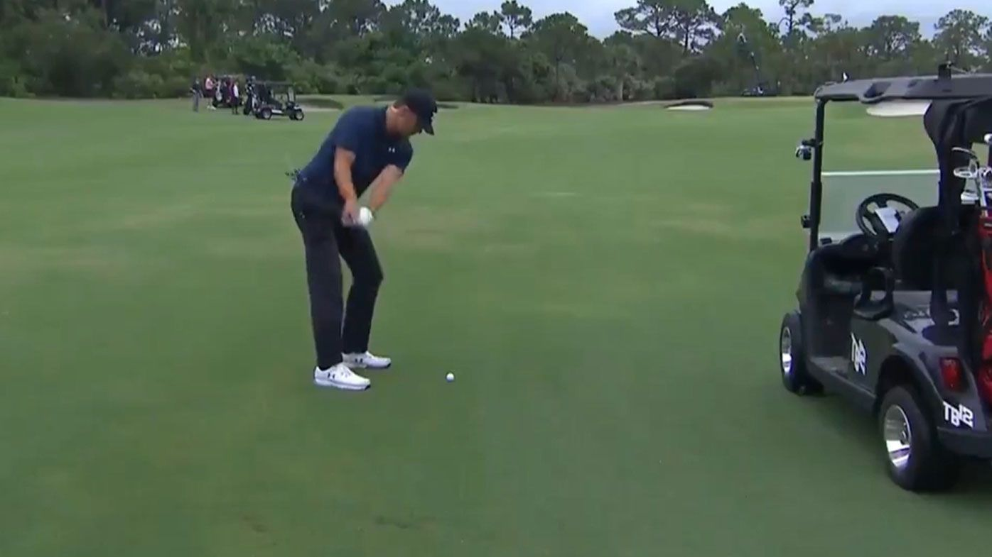 Tom Brady holes out with stunning shot in 'The Match' with Phil Mickelson, Tiger Woods and Peyton Manning