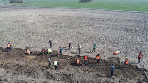 The dig was sparked when a silver coin was unearthed in January by two amateur archaeologists, including a 13 year old boy, on the northern German island of Ruegen in the Baltic Sea.