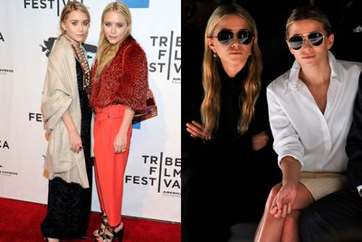 The Olsens again, rocking stupidly expensive hipster sunnies and long, hobo-esque, hipster rags.