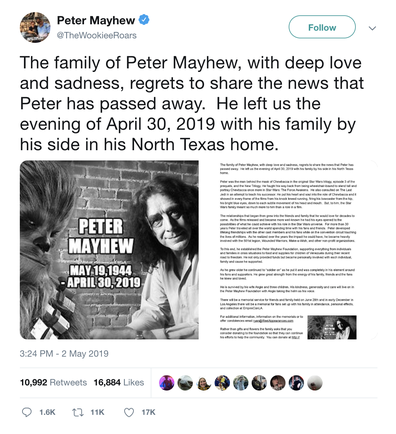 Chewbacca actor Peter Mayhew from 'Star Wars' dies at 74 - 9Celebrity