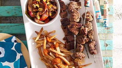 Moroccan beef kebabs with harissa chips