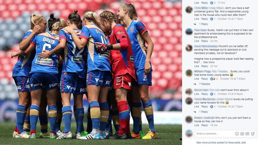 Newcastle Jets attacked over unmoderated lewd comments on W-League Facebook post