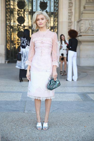 Sarah Ellen seen wearing Shiatzy Chen, Paris Fashion Week