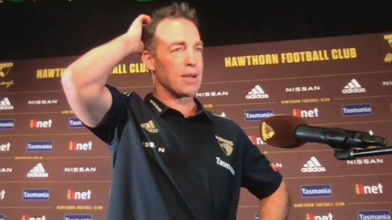 Hawthorn coach Alastair Clarkson addresses the media.
