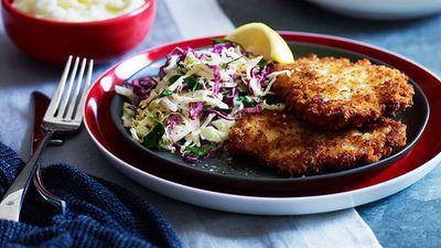 "<a href=""http://kitchen.nine.com.au/2016/05/16/10/18/gourmet-schnitzel"" target=""_top"">Gourmet schnitzel</a><br /> <br /> <a href=""http://kitchen.nine.com.au/2016/06/06/21/27/golden-crumbed-classics-for-the-family"" target=""_top"">More crumbed classics</a>"