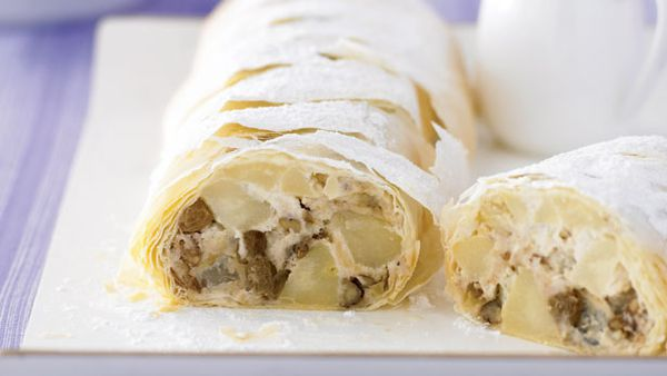 Pear and ricotta strudel