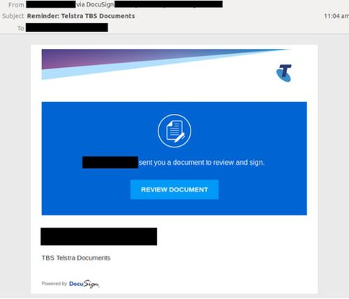 The scam has both Telstra and DocuSign branding