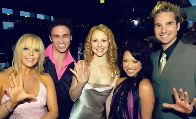 Foley with his fellow original Hi-5 cast members Tim Harding, Kellie Crawford, Kathleen De Leon Jones and Charli Robinson.