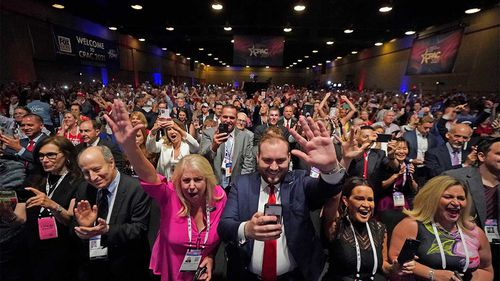 A crowd of Trump fans gathered to hear him speak earlier this month.