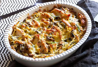Chicken and mushroom farfalle bake