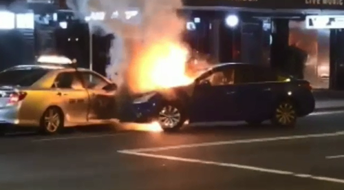 A P-Plater was arrested early this morning after a fiery crash in Sydney's Inner West.