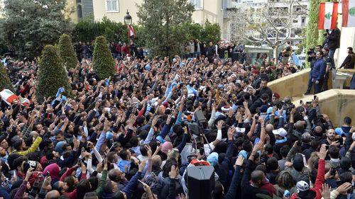 A crowd gathers to cheer on Lebanon Prime Minister Saad Hariri. (AAP)