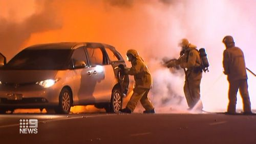 Car bursts into flames on highway