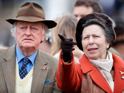 Andrew Parker-Bowles and Princess Anne at the 2020 Cheltenham Festival.