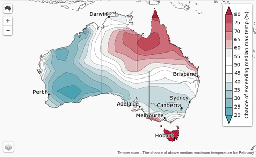 The February monthly outlook for temperatures across Australia. (Bureau of Meteorology)
