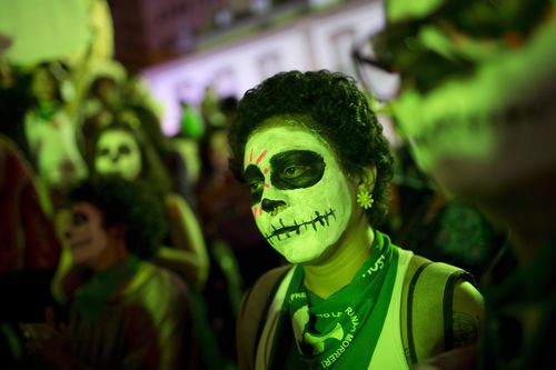 The march came after Argentina last week passed a bill that will legalise abortion in the first 14 weeks of pregnancy. Picture: AP.