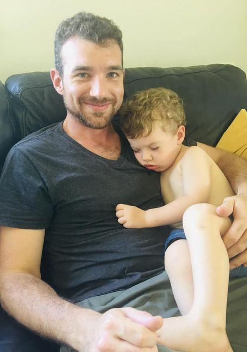 Arlo falls asleep on his dad, Ross.