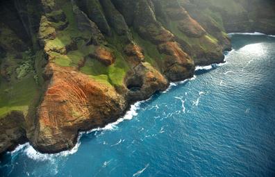 The rugged Napali coastline of Kauai in Hawaii.