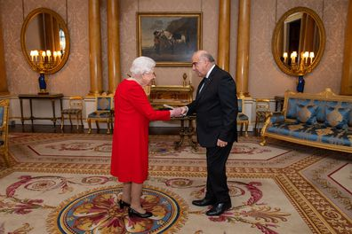 Queen Elizabeth II meets President of Malta George Vella during an audience at Buckingham Palace, London.