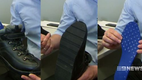 "Featuring a slew of features, the ""safe shoes"" are designed to prevent the wearer from slipping.(9NEWS)"
