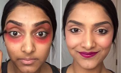 Using red lipstick as concealer